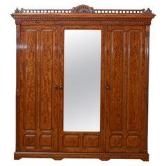 Edwardian Mahogany 3-Door Wardrobe
