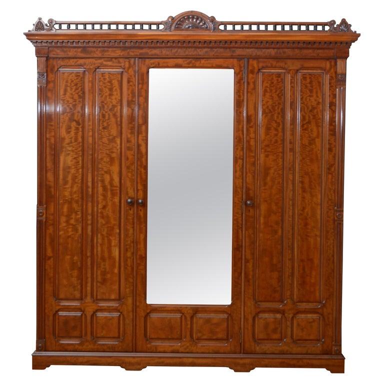Edwardian Mahogany 3-Door Wardrobe For Sale