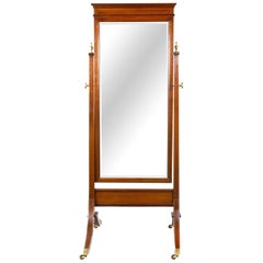 Edwardian Mahogany and Chequer Inlaid Swing Frame Cheval Mirror
