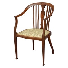 Edwardian Mahogany and Inlaid Armchair