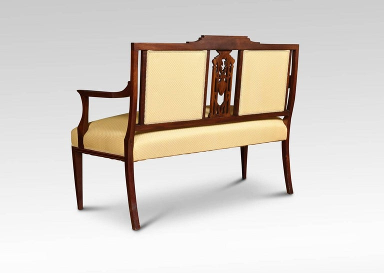 Edwardian Mahogany and Satinwood Inlaid Settee For Sale 1