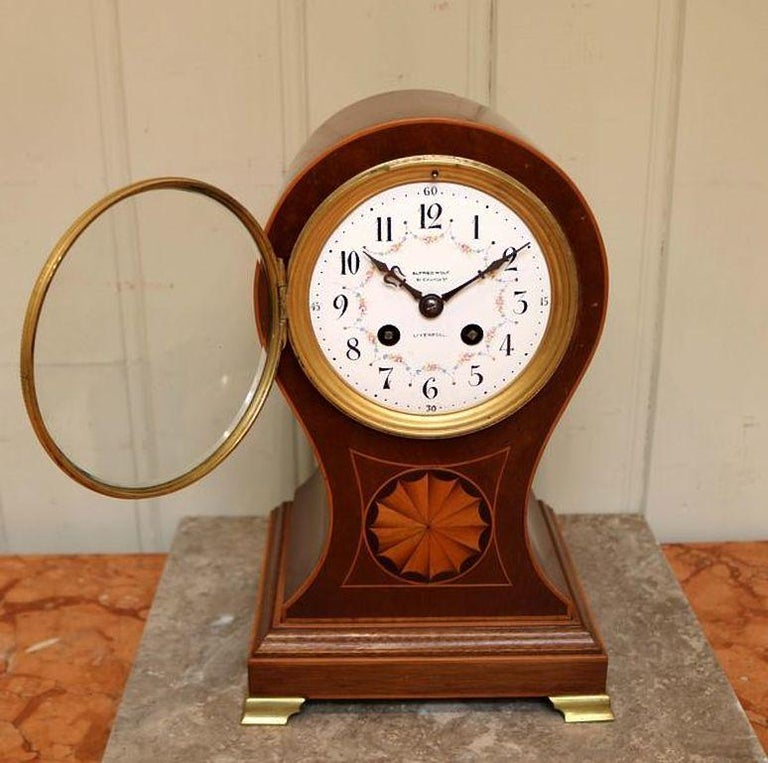 British Edwardian Mahogany Balloon Clock For Sale