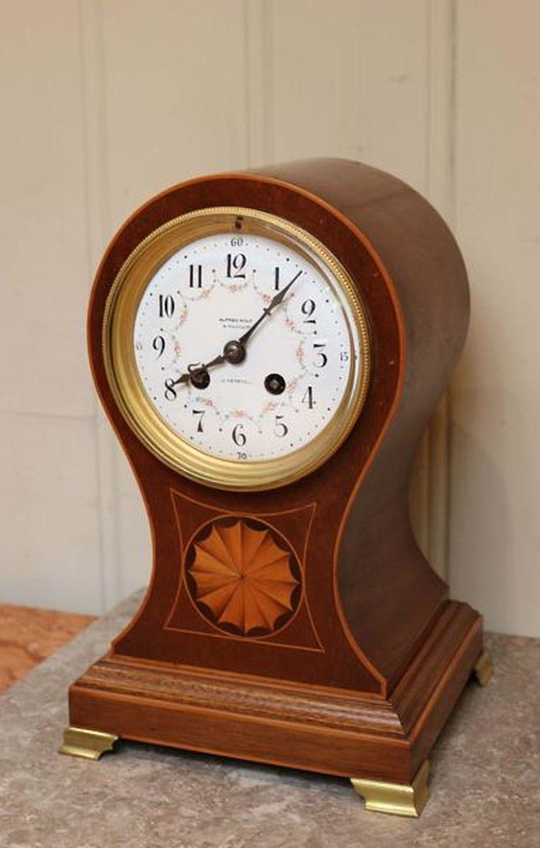 Edwardian Mahogany Balloon Clock For Sale 1