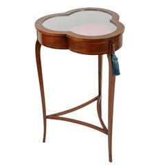 Early 20th Century Edwardian Inlaid Mahogany Bijouterie Table or Vitrine