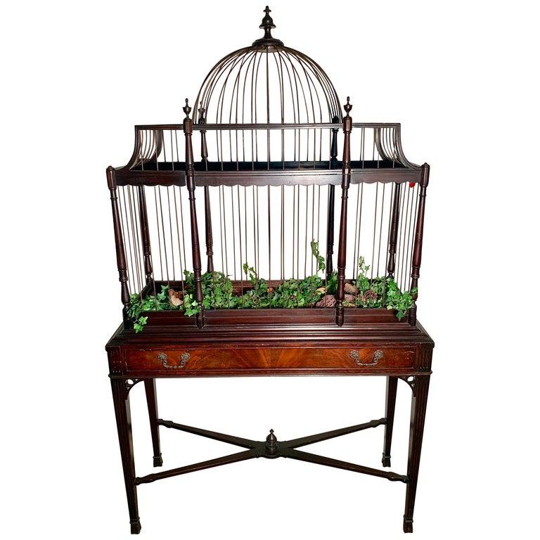 Edwardian Mahogany Bird Cage, circa 1940 For Sale