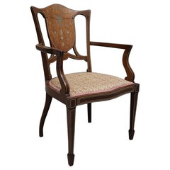 Edwardian Mahogany Boxwood Bone Inlaid and Strund Open Salon Armchair