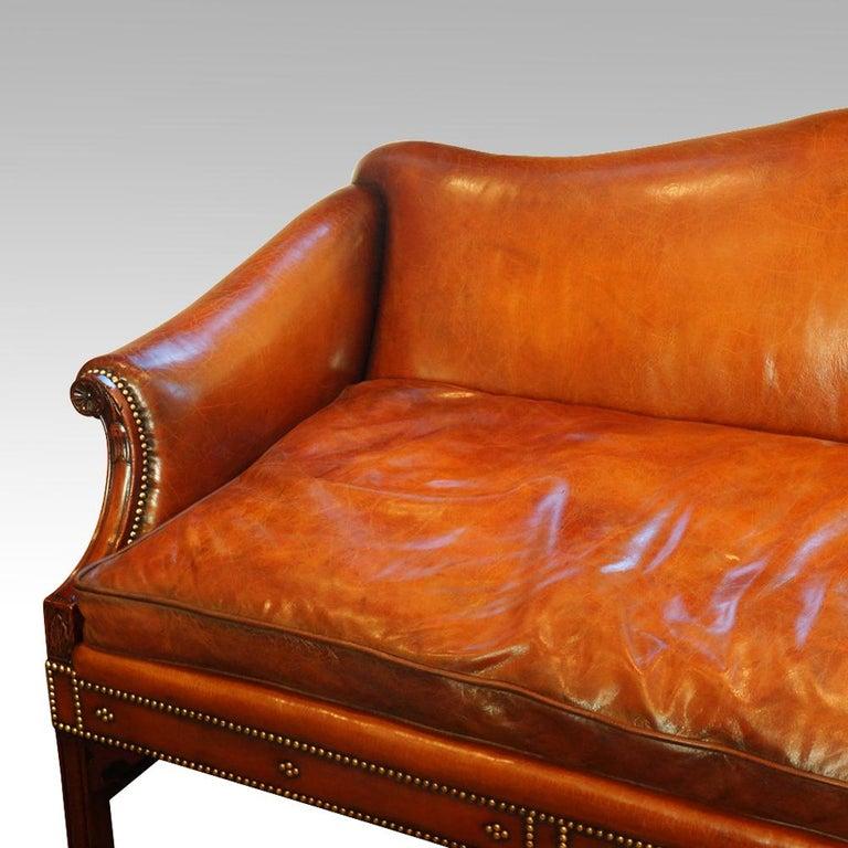 Chippendale Edwardian Mahogany Camel Back Sofa For Sale