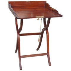 Edwardian Mahogany Campaign Desk with Lock and Key