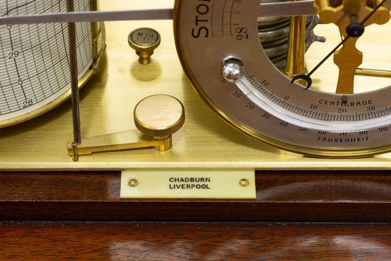 English Edwardian Mahogany Cased Barograph by Chadburn, Liverpool For Sale
