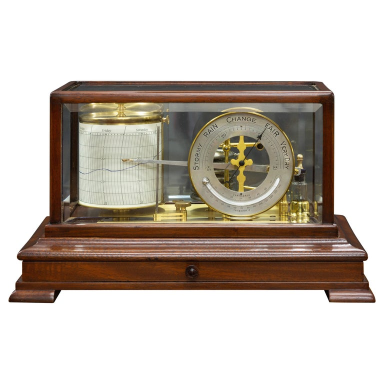 Edwardian Mahogany Cased Barograph by Chadburn, Liverpool For Sale