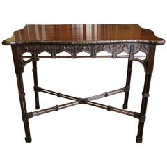 Edwardian Mahogany Chinese Chippendale Style Silver Table