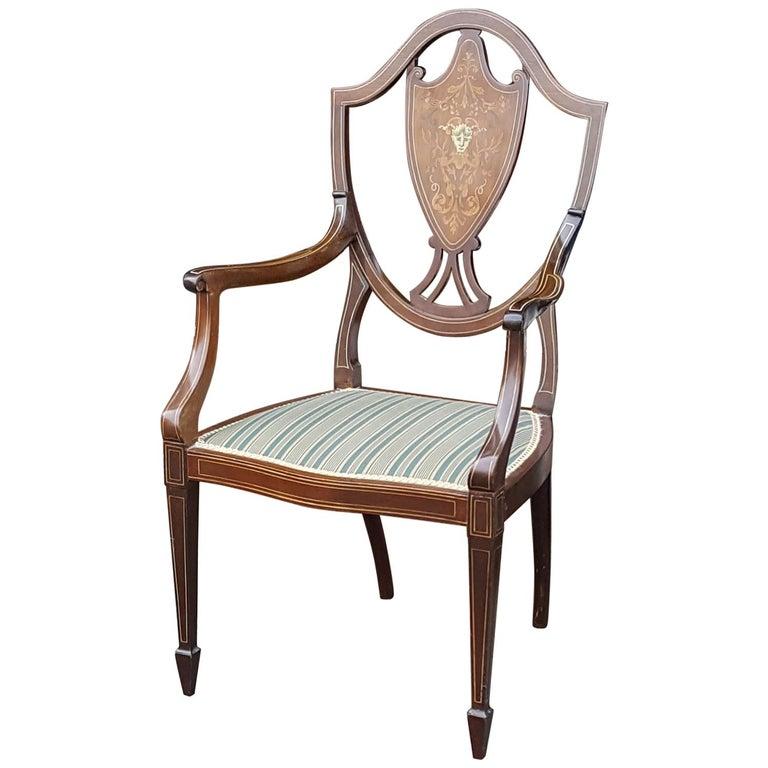 Edwardian Mahogany Inlaid Armchair For Sale