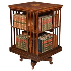 Edwardian Mahogany Inlaid Revolving Bookcase by Maple & Co