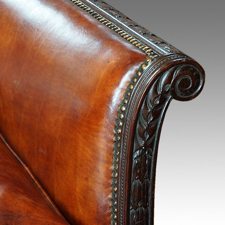 Edwardian mahogany leather sofa 