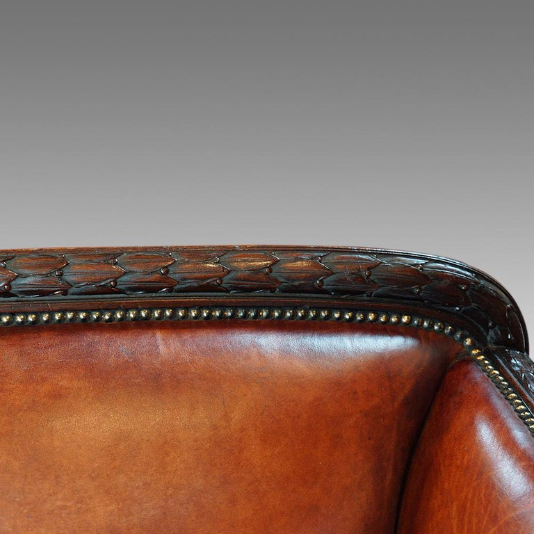 Early 20th Century English Edwardian Mahogany Grade 1 Leather Sofa, early 20th. century, Circa 1910 For Sale