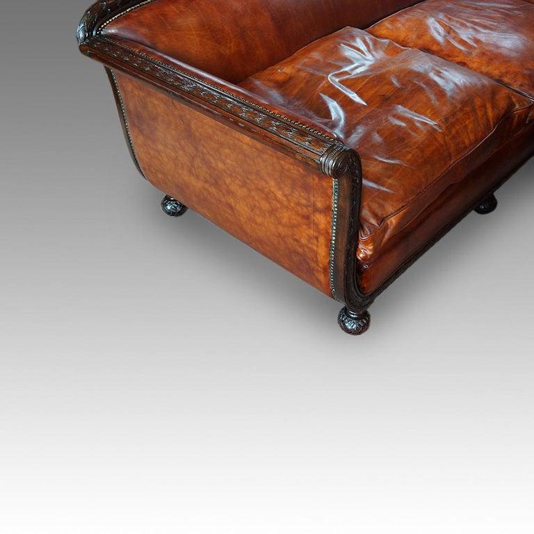 English Edwardian Mahogany Grade 1 Leather Sofa, early 20th. century, Circa 1910 For Sale 1