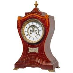 Early 20th Century Mahogany Marquetry Balloon Bracket Clock