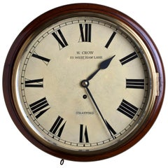 Edwardian Mahogany Round Dial Fusee Wall Clock by William Crow, Stratford