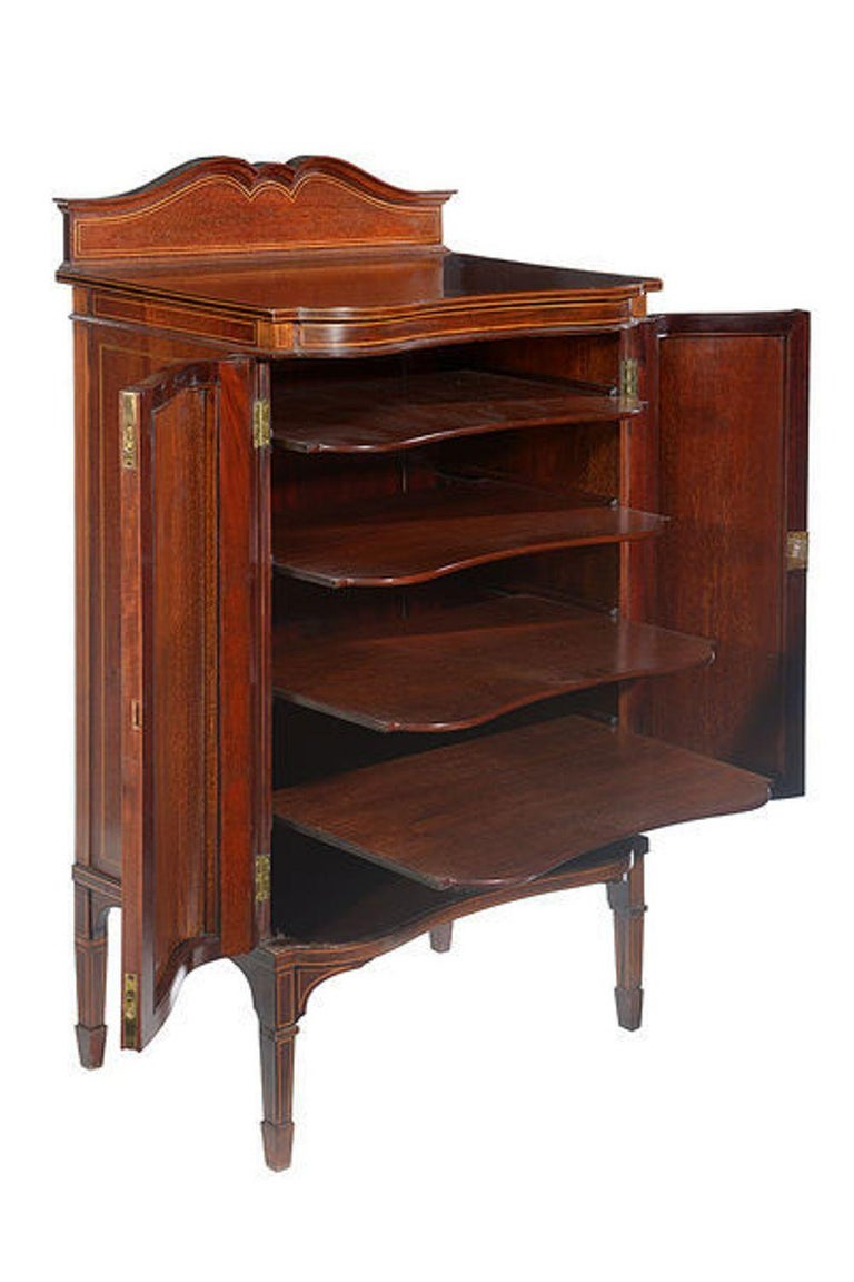 Marquetry Edwardian Mahogany and Satinwood Inlaid Music Cabinet For Sale