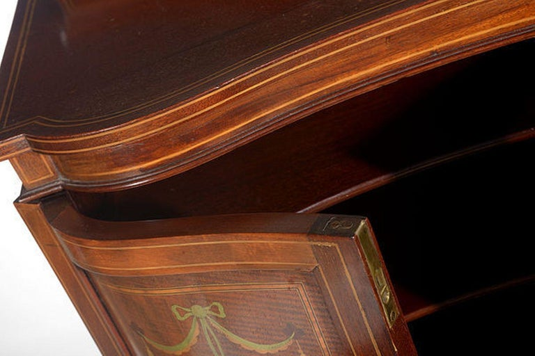 Edwardian Mahogany and Satinwood Inlaid Music Cabinet For Sale 1