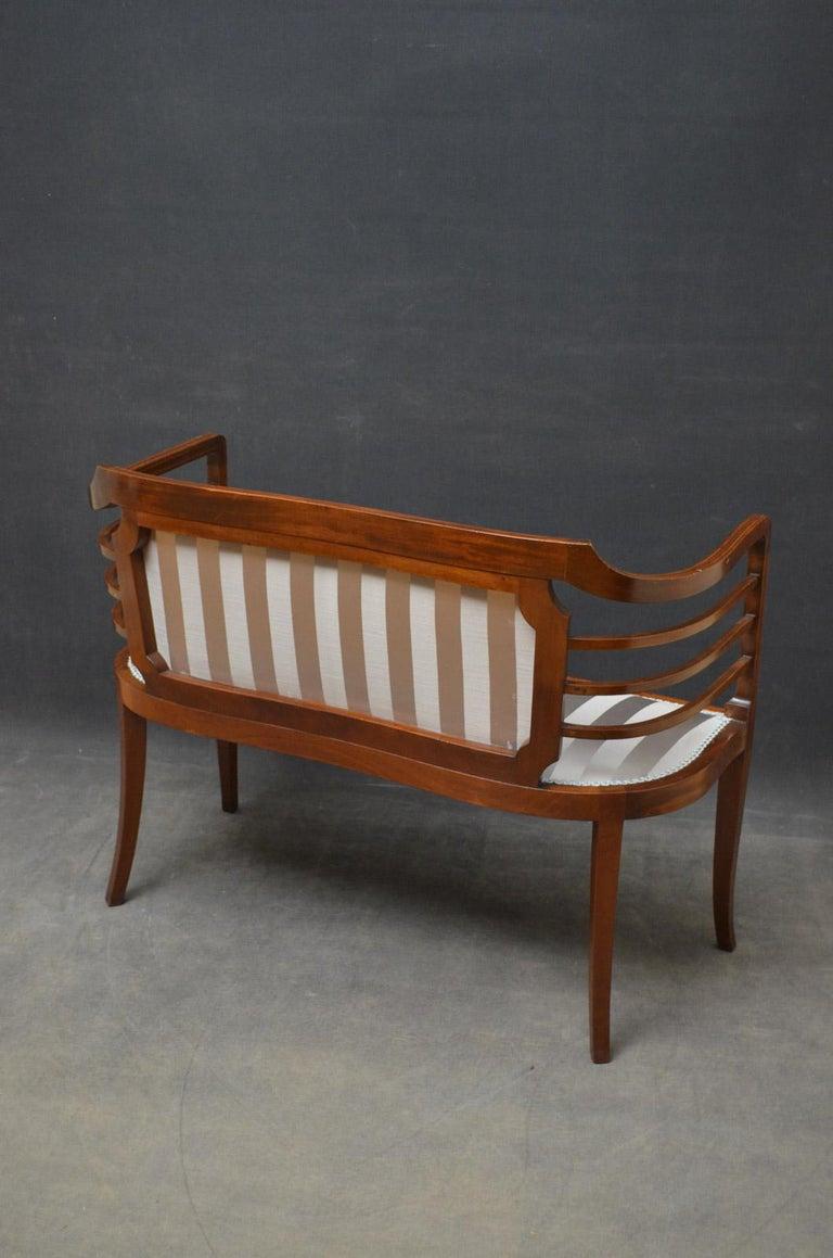 Edwardian Mahogany Settee For Sale 4