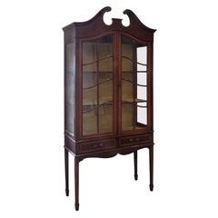 Edwardian Mahogany String Inlaid Display Cabinet, circa 1910