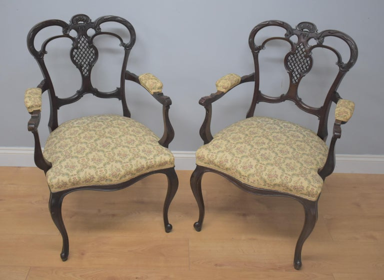 Edwardian Mahogany Three-Piece Salon Suite For Sale 9