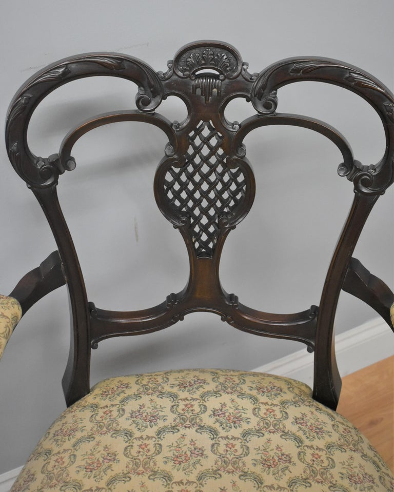 Edwardian Mahogany Three-Piece Salon Suite For Sale 10