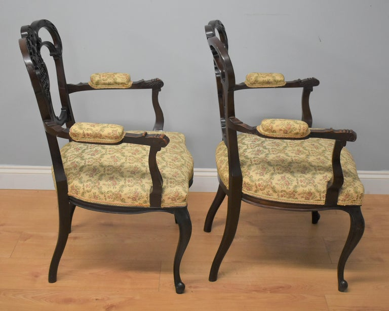Edwardian Mahogany Three-Piece Salon Suite For Sale 14