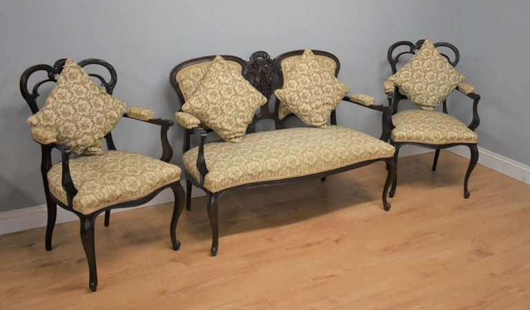 European Edwardian Mahogany Three-Piece Salon Suite For Sale