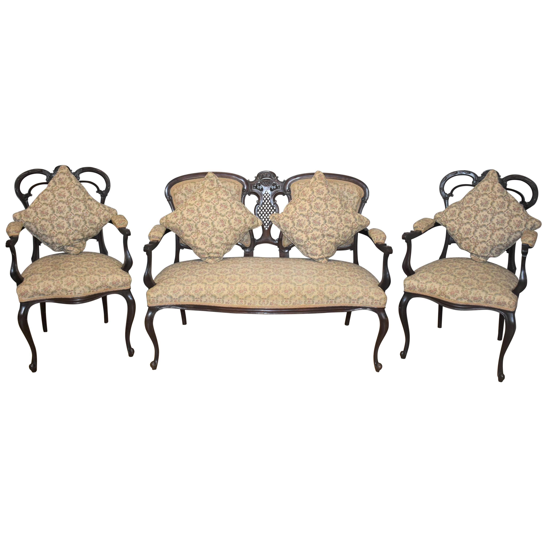 Edwardian Mahogany Three-Piece Salon Suite