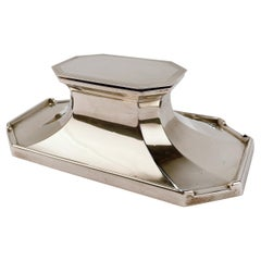 Edwardian Mappin & Webb 2-Chamber Sterling Silver Inkwell or Desk Standish