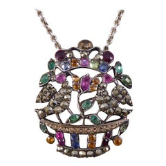 Edwardian Marcasite and Gemset Necklace Set in Silver