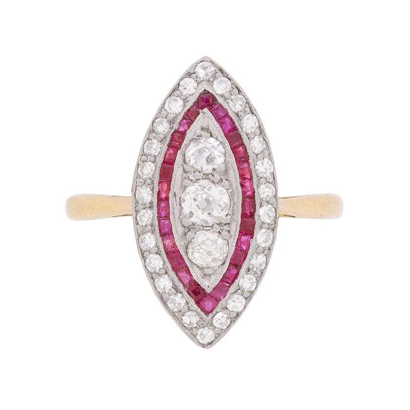 Edwardian Marquise Diamond and Ruby Cluster Ring, circa 1910