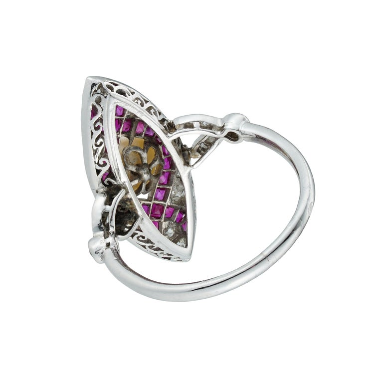 Old European Cut Edwardian Marquise Diamond Pearl and Ruby Ring For Sale