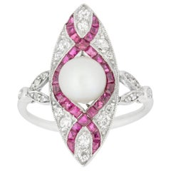 Edwardian Marquise Diamond Pearl and Ruby Ring