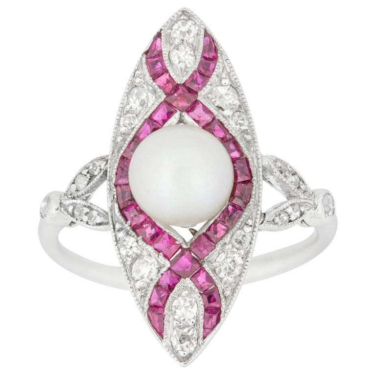 Edwardian Marquise Diamond Pearl and Ruby Ring For Sale