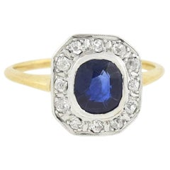 Edwardian Mixed Metals 1.25 Natural Sapphire and Old Mine Cut Diamond Ring