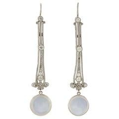 Edwardian Moonstone and Diamond Filigree Earrings