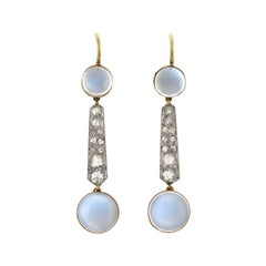 Edwardian Moonstone and Rose Cut Diamond Drop Earrings