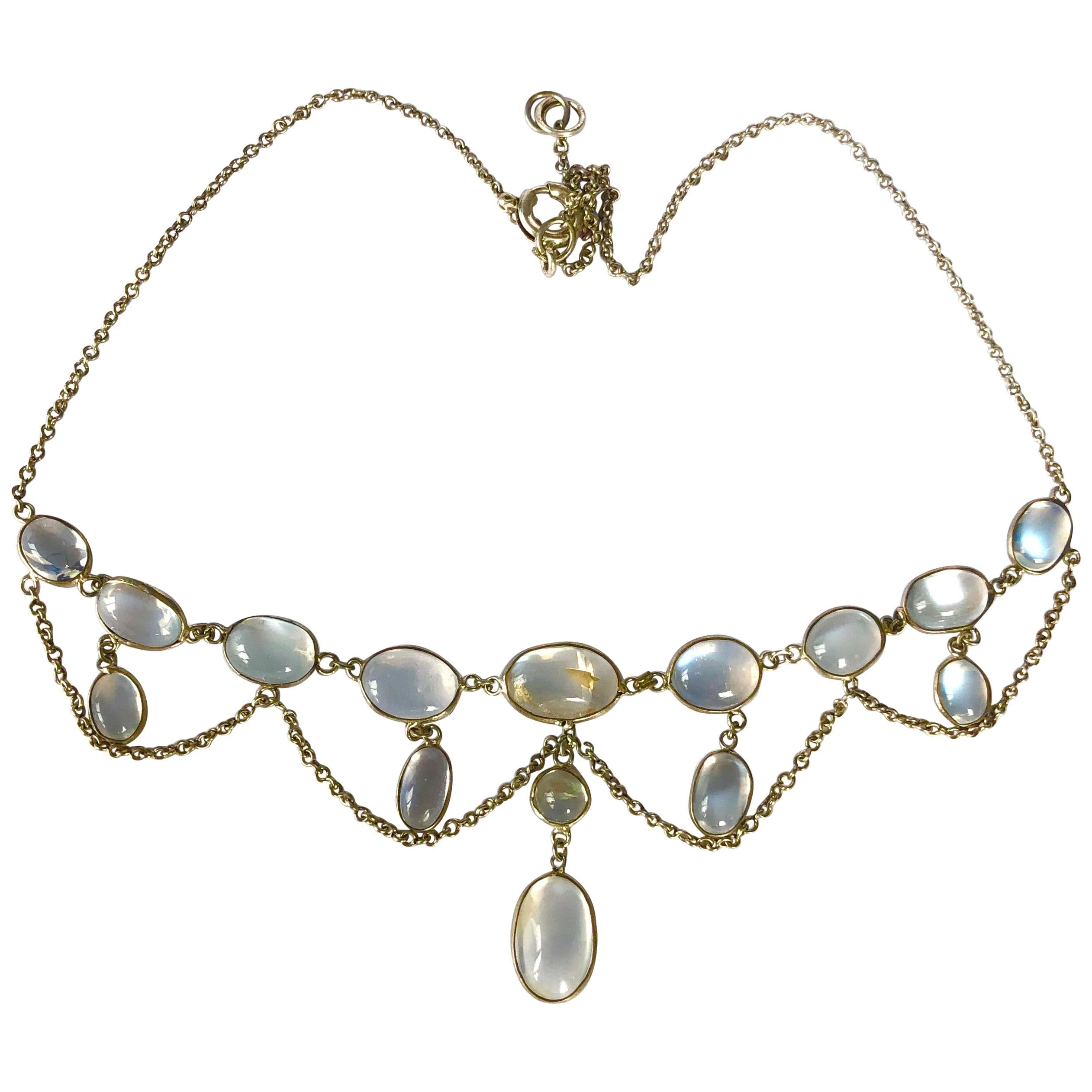 Edwardian Moonstone and Silver Festoon Necklace