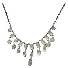 Edwardian Moonstone and Silver Fringe Necklace
