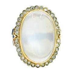 Edwardian Moonstone Diamond Sapphire 14 Karat Two-Tone Gold Cabochon Cluster Rin