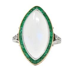 Edwardian Moonstone Emerald Diamond Platinum Yellow Gold Ring