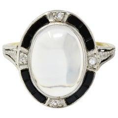 Edwardian Moonstone Onyx Diamond Platinum-Topped 14 Karat Gold Ring