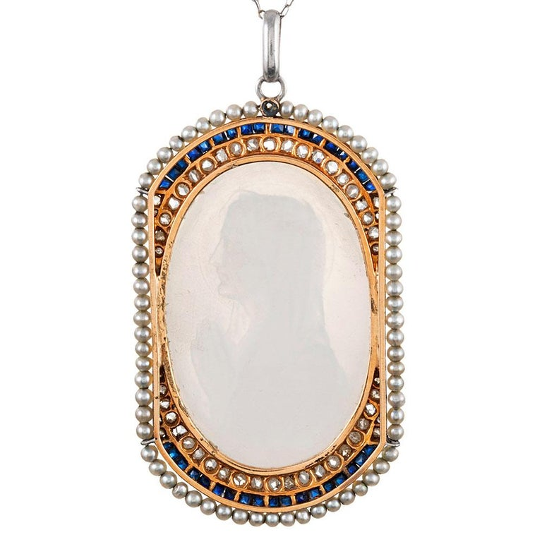 Edwardian Mother of Pearl Madonna Pendant with Pearls, Sapphires and Diamonds In Good Condition For Sale In Carmel-by-the-Sea, CA