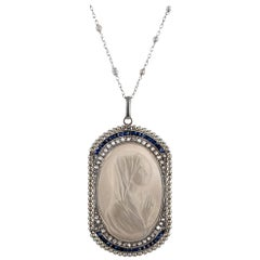 Edwardian Mother of Pearl Madonna Pendant with Pearls, Sapphires and Diamonds