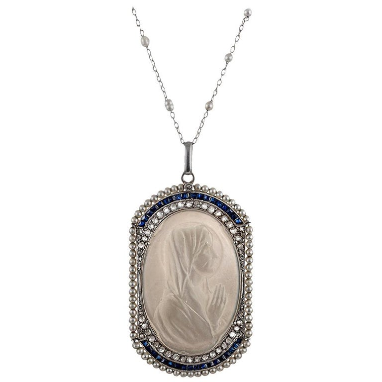Edwardian Mother of Pearl Madonna Pendant with Pearls, Sapphires and Diamonds For Sale
