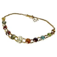 Edwardian Multi-Stone 9 Carat Gold Bracelet