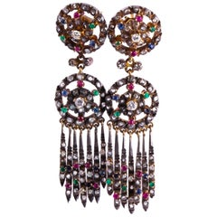 Edwardian Multi-Stone Silver and 9 Carat Gold Earrings